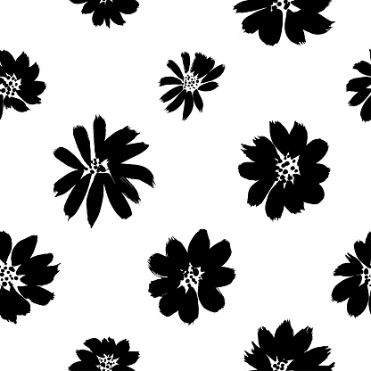 Ink drawing flowers hand drawn seamless pattern. Black and white ink brush vector texture. Grunge dry brushstroke drawing.