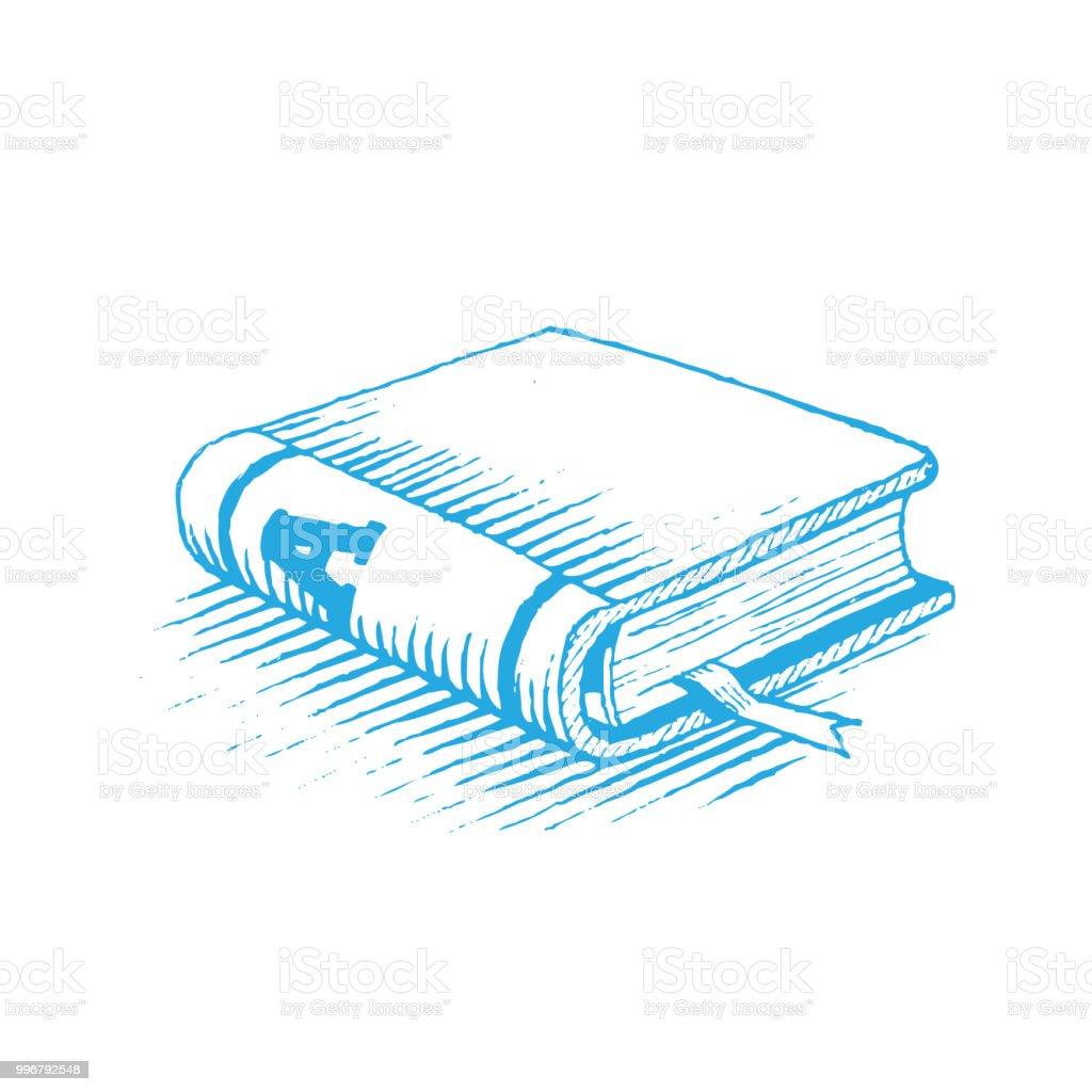 Dessin Dencre Dune Illustration De Vecteur Du Livre Bleu