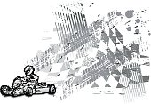 Ink drawing of a gocart driver on black checkered background