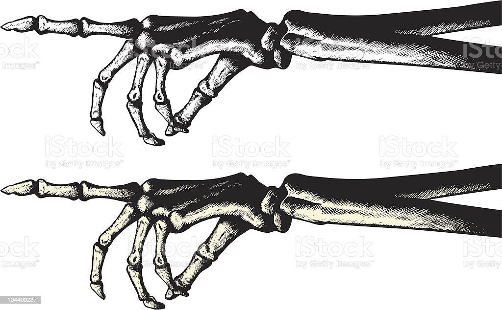 Ilustración de Dibujo De Tinta De Una Mano Apuntando Esqueleto y más ...