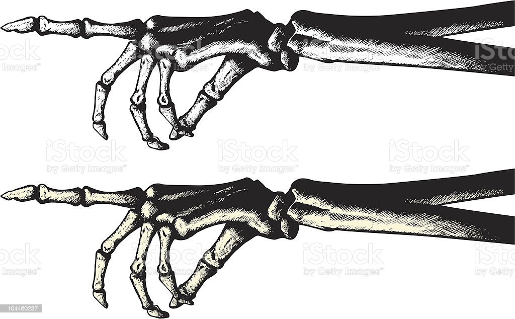 Ink drawing of a pointing skeleton hand vector art illustration