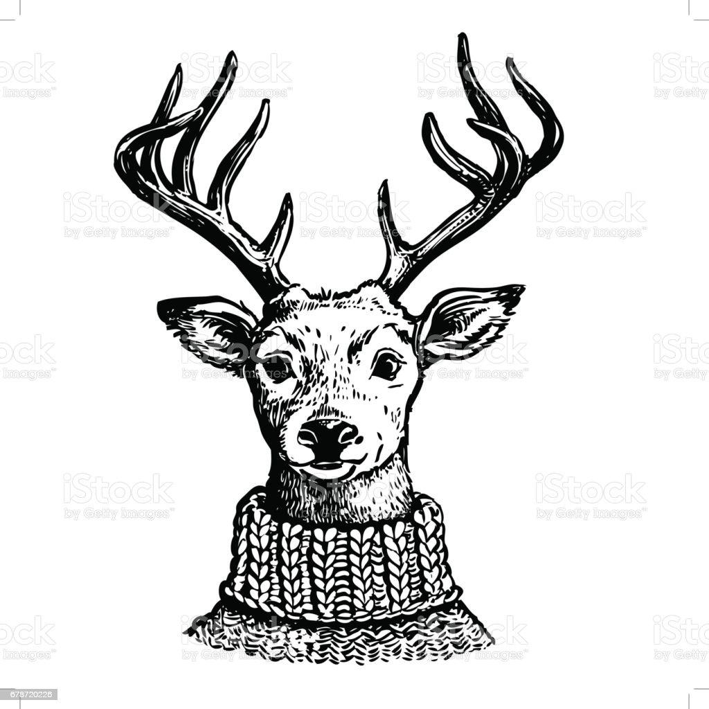 Dessin de rennes en pull en tricot cliparts vectoriels - Dessins de rennes ...