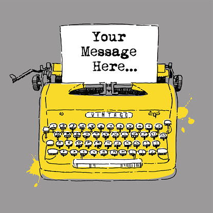 Ink drawing of vintage style typewriter with with space for text.