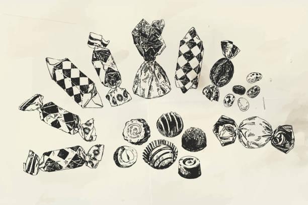 tinte gezeichnet verschiedene bonbons - weihnachtsschokolade stock-grafiken, -clipart, -cartoons und -symbole