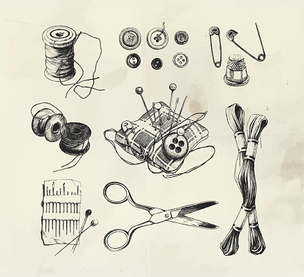 Ink drawn sewing set