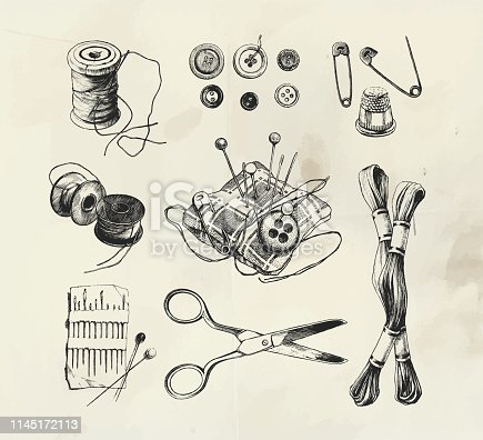 Ink drawn sewing set with scissors, buttons, thread and needles