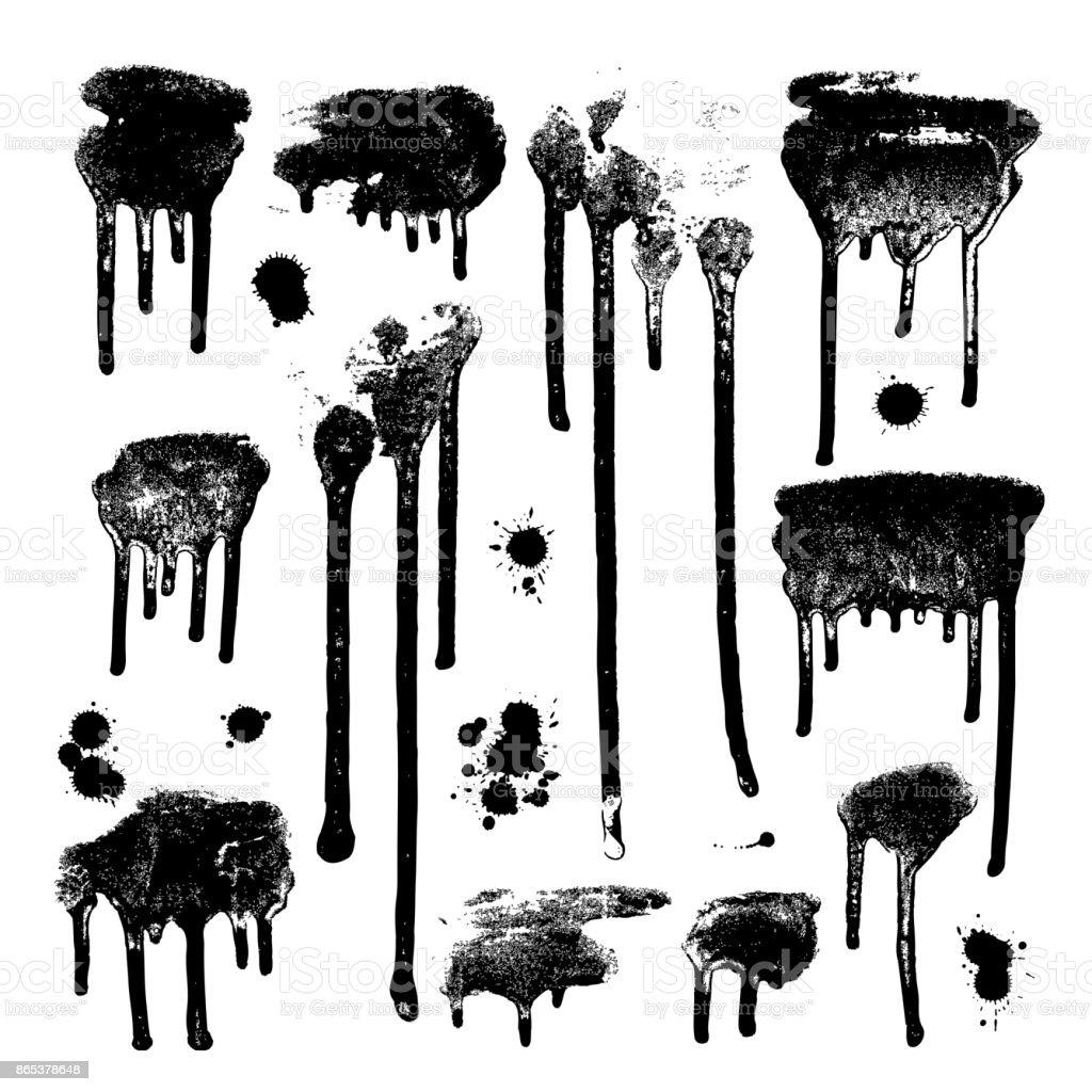 Ink drops. Grunge paint. Design element set
