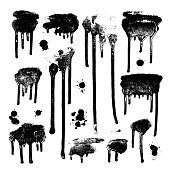 Ink drops. Grunge paint. Design element set