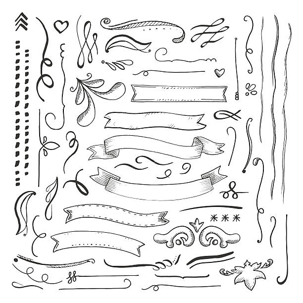 ink engaved hand drawn decorative elements set - doodles and hand drawn frames stock illustrations, clip art, cartoons, & icons