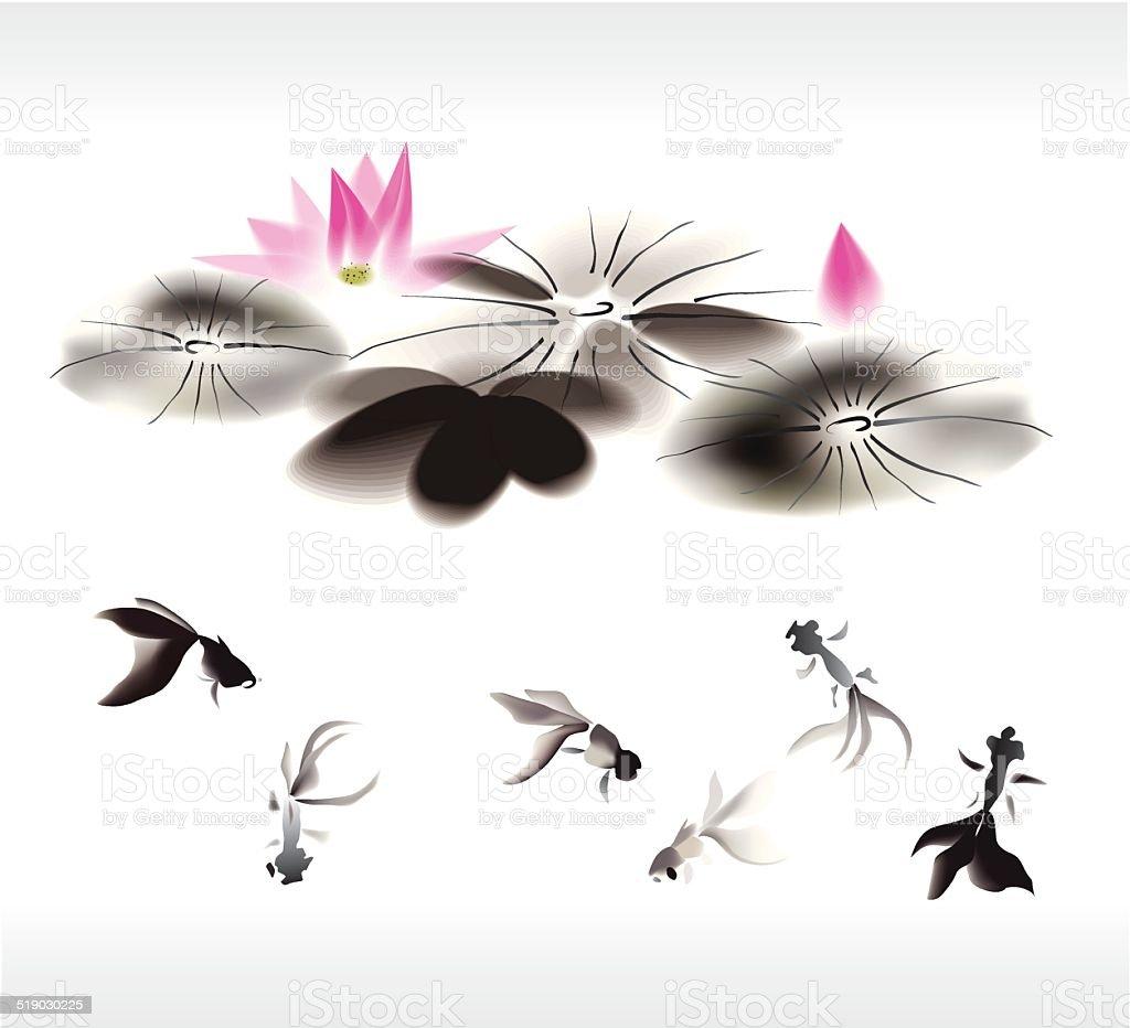 ink gold fish background vector art illustration