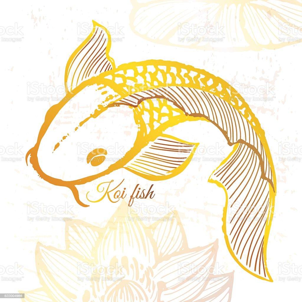 Ilustración de Dibujado A Mano De Tinta Oro Ilustración De Peces Koi ...