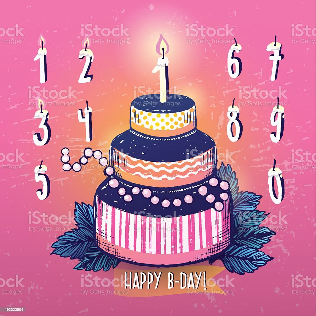 Ink Hand Drawn Happy Birthday Cake And Candles Numbers Set Stock