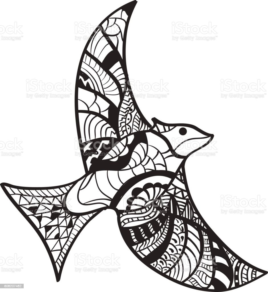 Ink Hand Drawn Outline Doodle Flying Bird Illustration Decorated