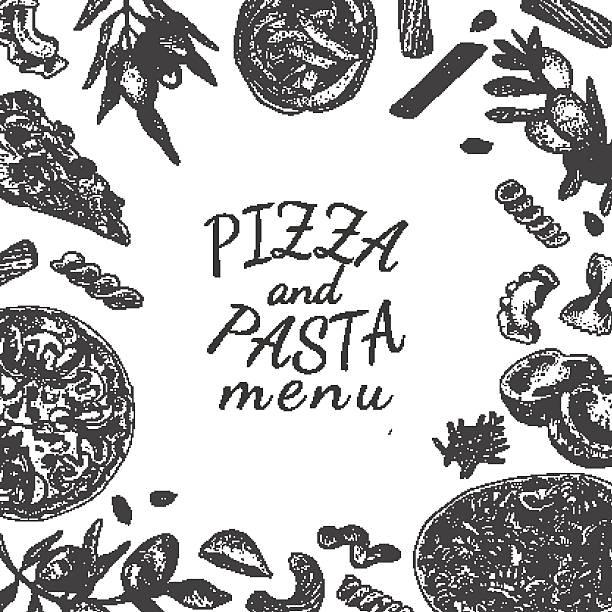 bildbanksillustrationer, clip art samt tecknat material och ikoner med ink hand drawn pizza and pasta menu template - tagliatelle mushroom