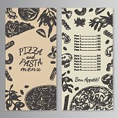 Ink hand drawn pizza and pasta menu template. Engraving old-fashioned vintage style. Kraft paper imitation,