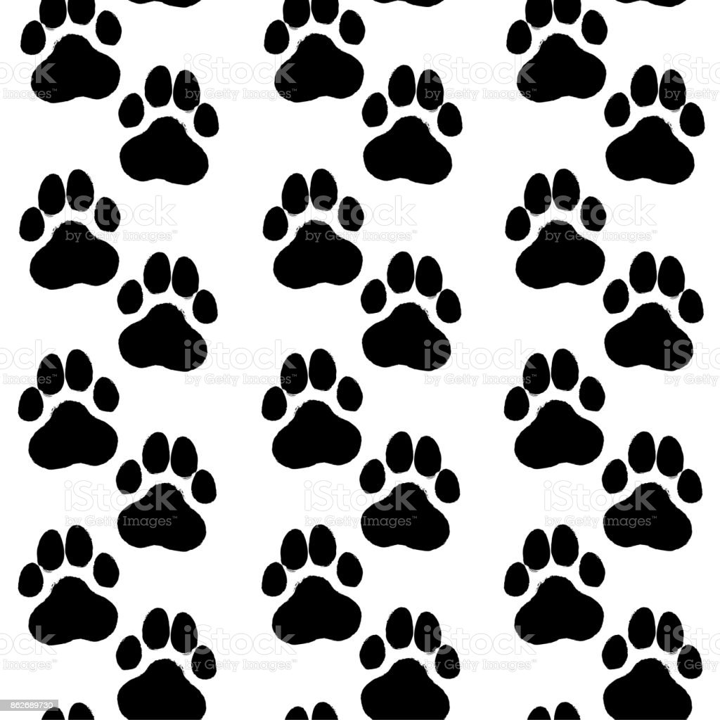 Ink Hand Drawn Seamless Pattern With Dog Paws Stock Illustration