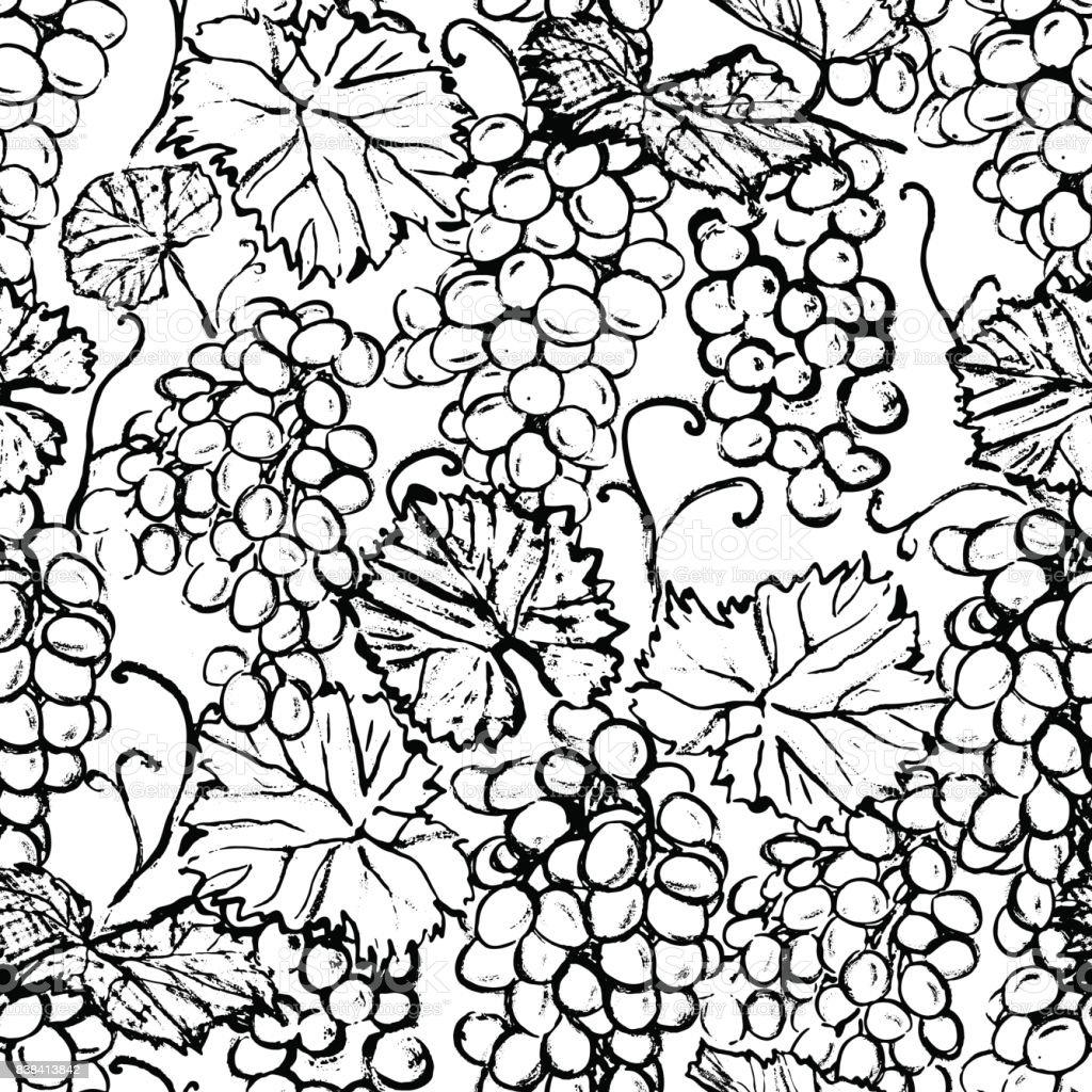 Mürekkep El üzüm Siyah Ve Beyaz Boyama Ile çizilmiş Seamless Modeli