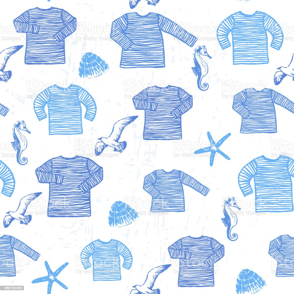 Ink hand drawn seamless pattern with seamen singlets, seashells, starfishes and seagulls - Royalty-free Adult stock vector