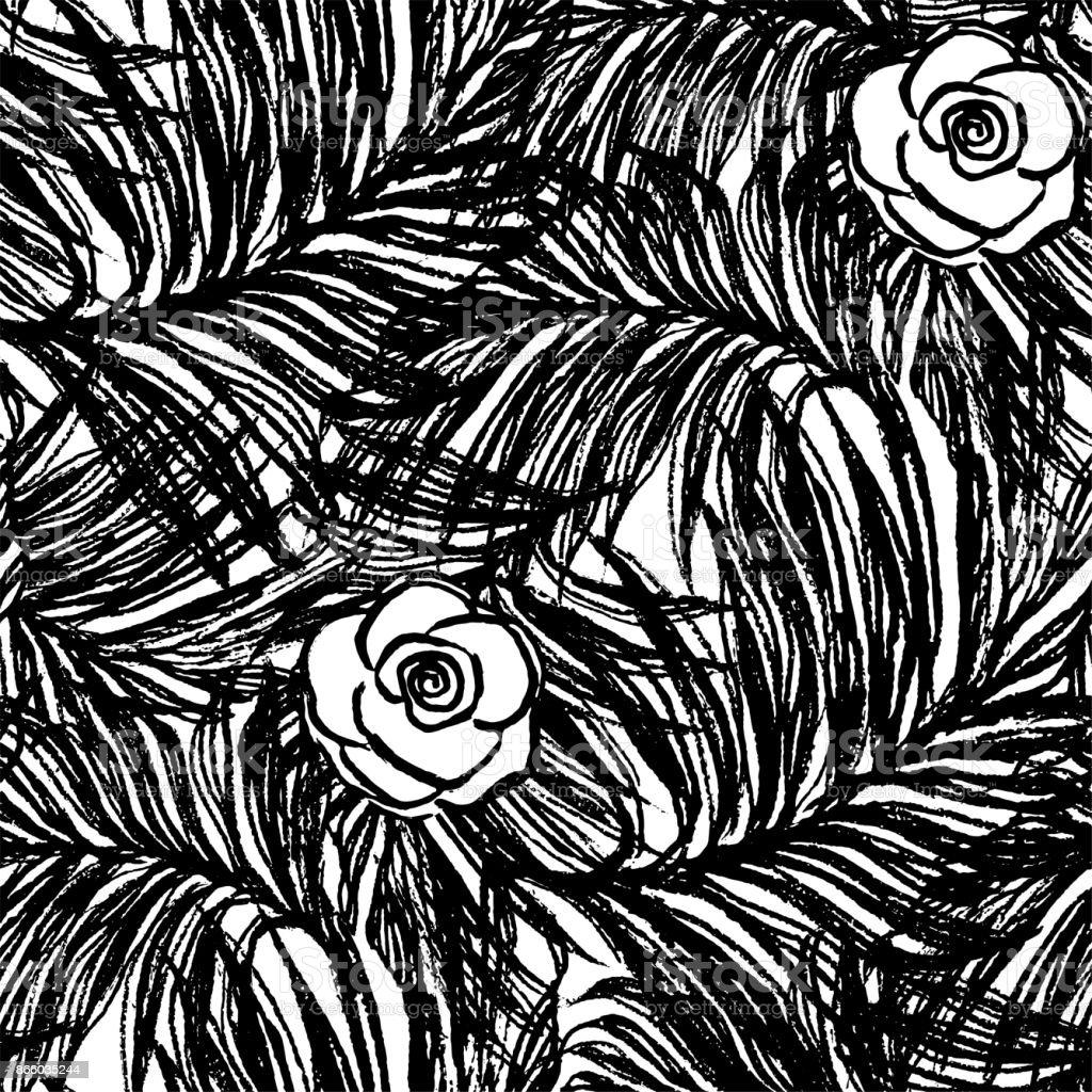 Tinte Hand Gezeichnete Sommer Musterdesign Mit Dschungel Blatter Und
