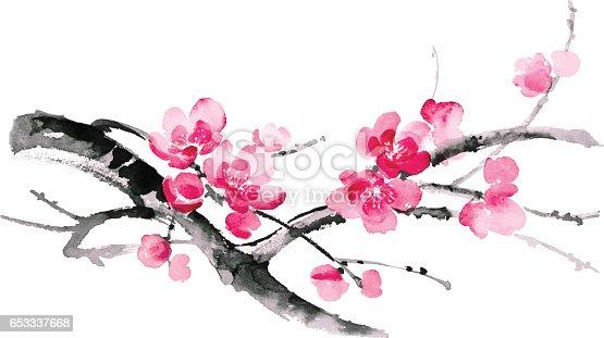 istock Ink illustration of sakura. Sumi-e style. 653337668