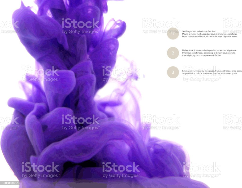 Ink in water isolated on white background. Abstract banner paints. vector art illustration
