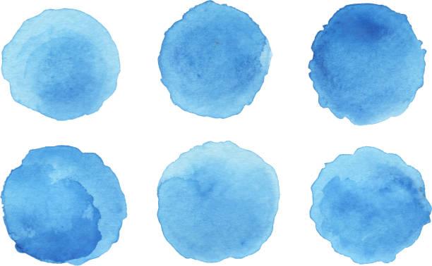 잉크 패치 세트 - 수채화 물감 stock illustrations