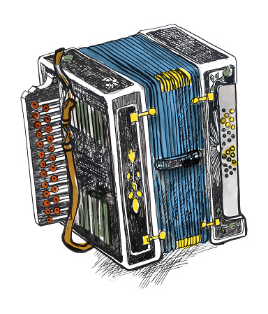 ink, pen. accordion illustration