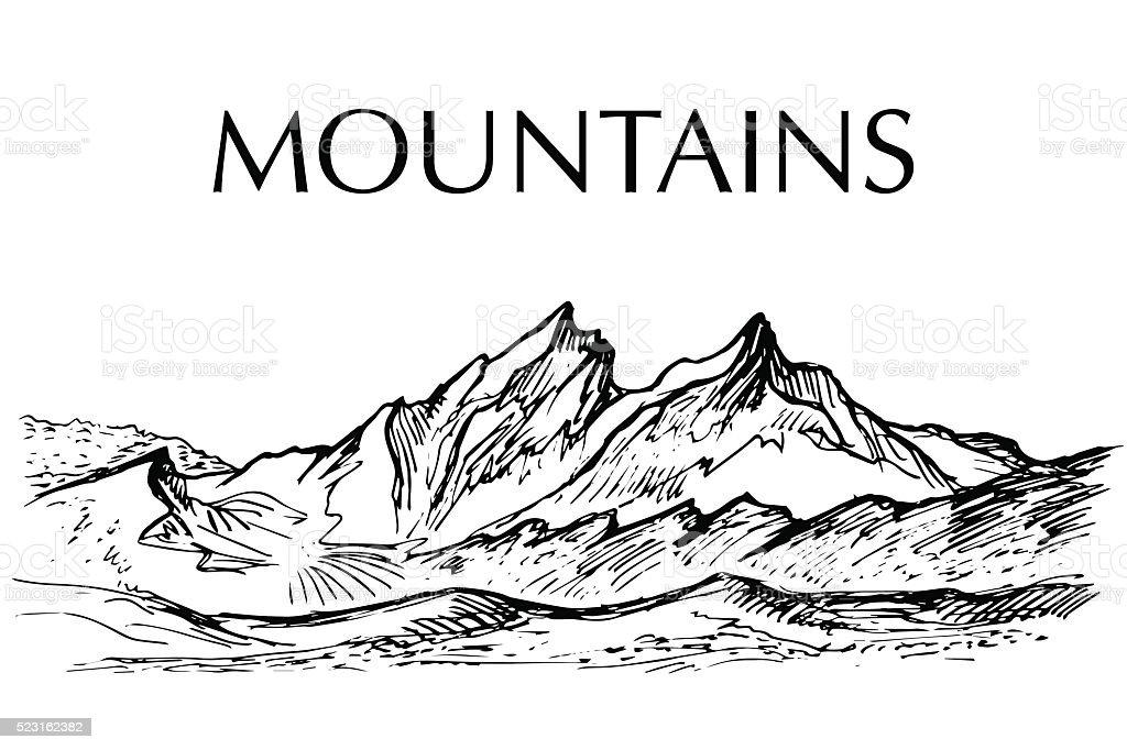 Ink pen drawn range of mountain vector art illustration
