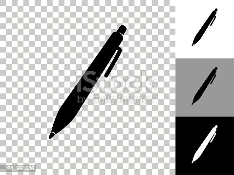 istock Ink Pen Icon on Checkerboard Transparent Background 1241961636