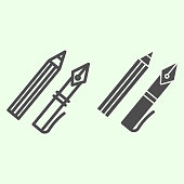 Ink pen line and solid icon. Office supplies with fountain pen and pencil outline style pictogram on white background. Education and school signs for mobile concept and web design. Vector graphics