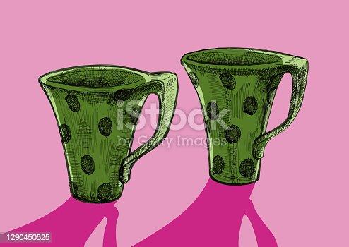 istock ink, pen. mugs with polka dots, illustration vector 1290450525