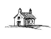 Ink sketch of barn