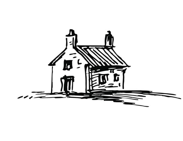 Ink sketch of barn Old stone house. Ink sketch. Isolated on white background. Retro style. cottage stock illustrations