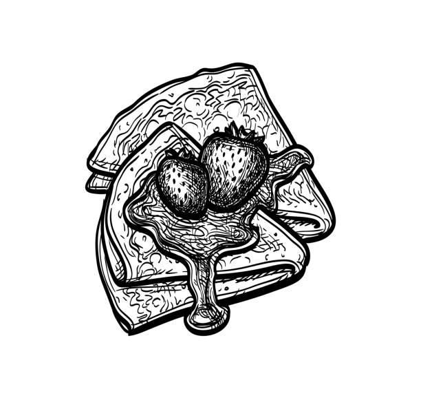 bildbanksillustrationer, clip art samt tecknat material och ikoner med bläck skiss av blini - crepe