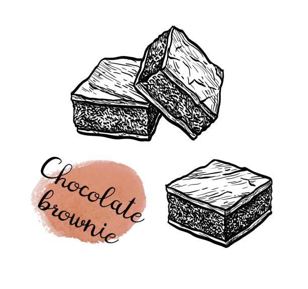 bildbanksillustrationer, clip art samt tecknat material och ikoner med bläck skiss av choklad brownie. - brownie