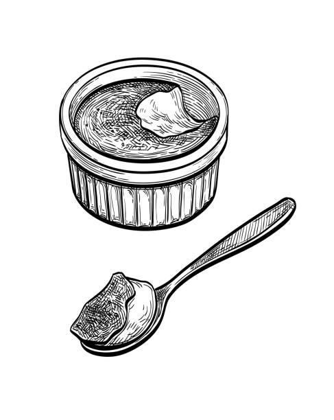 ilustrações de stock, clip art, desenhos animados e ícones de ink sketch of creme brulee. - burned cooking