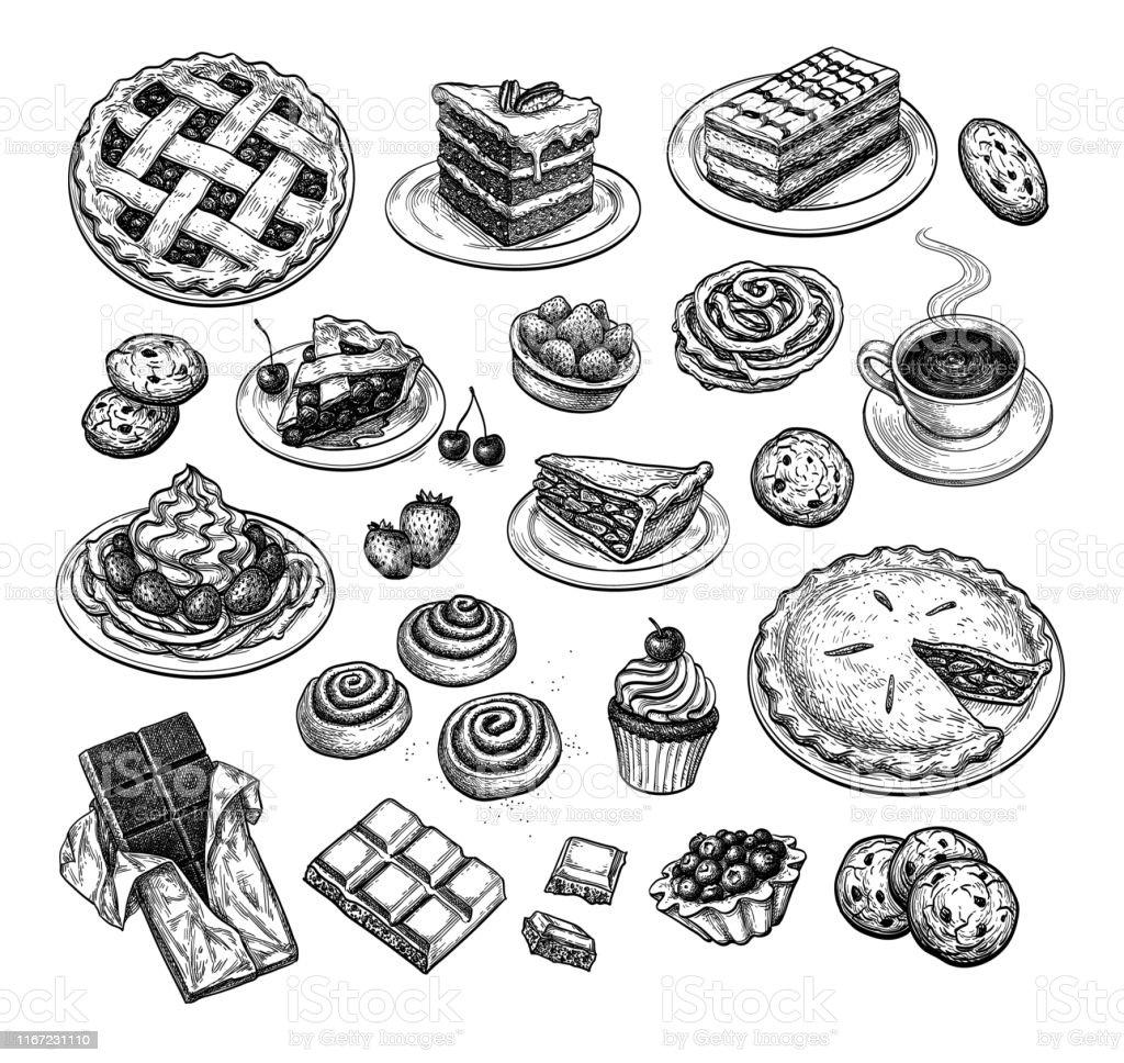 Ink sketch of desserts. - Royalty-free Arando - Fruta arte vetorial