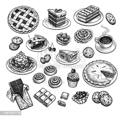 Collection of sweets and pastries. Popular desserts. Ink sketch set isolated on white background. Hand drawn vector illustration. Retro style.