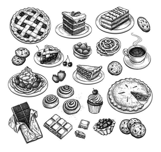 szkic atramentu deserów. - ciasto stock illustrations