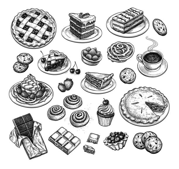 Ink sketch of desserts. Collection of sweets and pastries. Popular desserts. Ink sketch set isolated on white background. Hand drawn vector illustration. Retro style. cake drawings stock illustrations