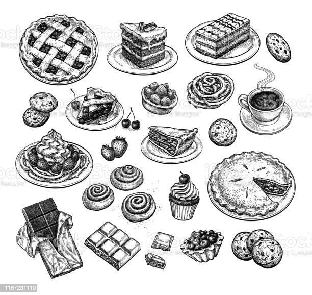 Ink Sketch Of Desserts - Arte vetorial de stock e mais imagens de Arando - Fruta