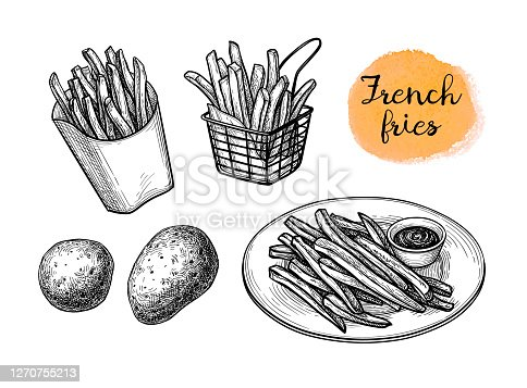 istock Ink sketch of french fries. 1270755213