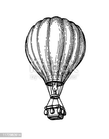 Hot air balloon. Ink sketch of aerostat isolated on white background. Hand drawn vector illustration. Retro style.