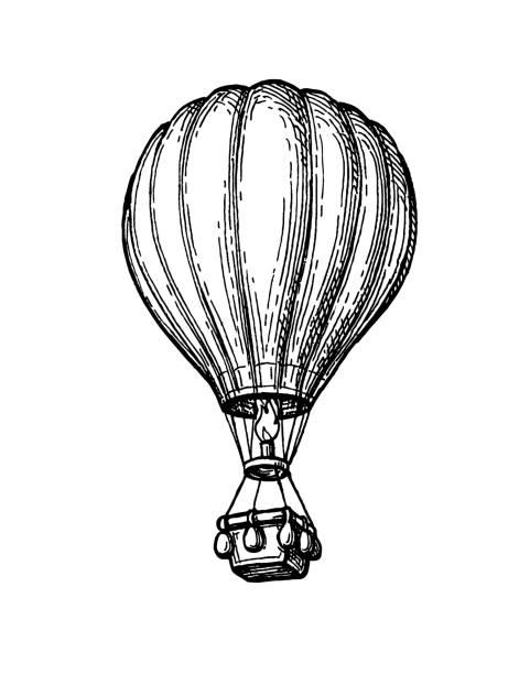чернильный эскиз воздушного шара. - hot air balloon stock illustrations