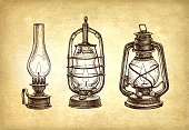 Three types of kerosene lamps. Vintage oil lanterns set. Ink sketch on old paper background. Hand drawn vector illustration. Retro style.