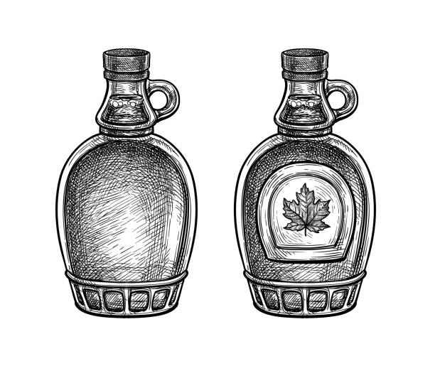 stockillustraties, clipart, cartoons en iconen met inkt schets van ahornsiroop flessen. - siroop
