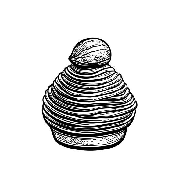illustrazioni stock, clip art, cartoni animati e icone di tendenza di ink sketch of mont blanc dessert. - monte bianco
