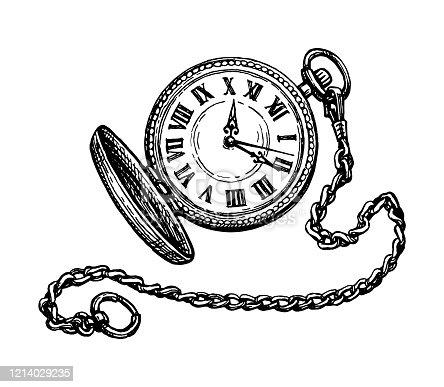 istock Ink sketch of pocket watch. 1214029235