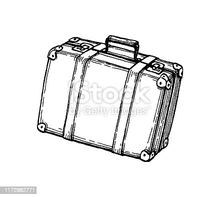 istock Ink sketch of suitcase. 1172982771