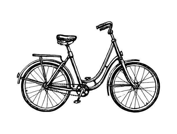 bildbanksillustrationer, clip art samt tecknat material och ikoner med bläck skiss av vintage cykel. - cykla